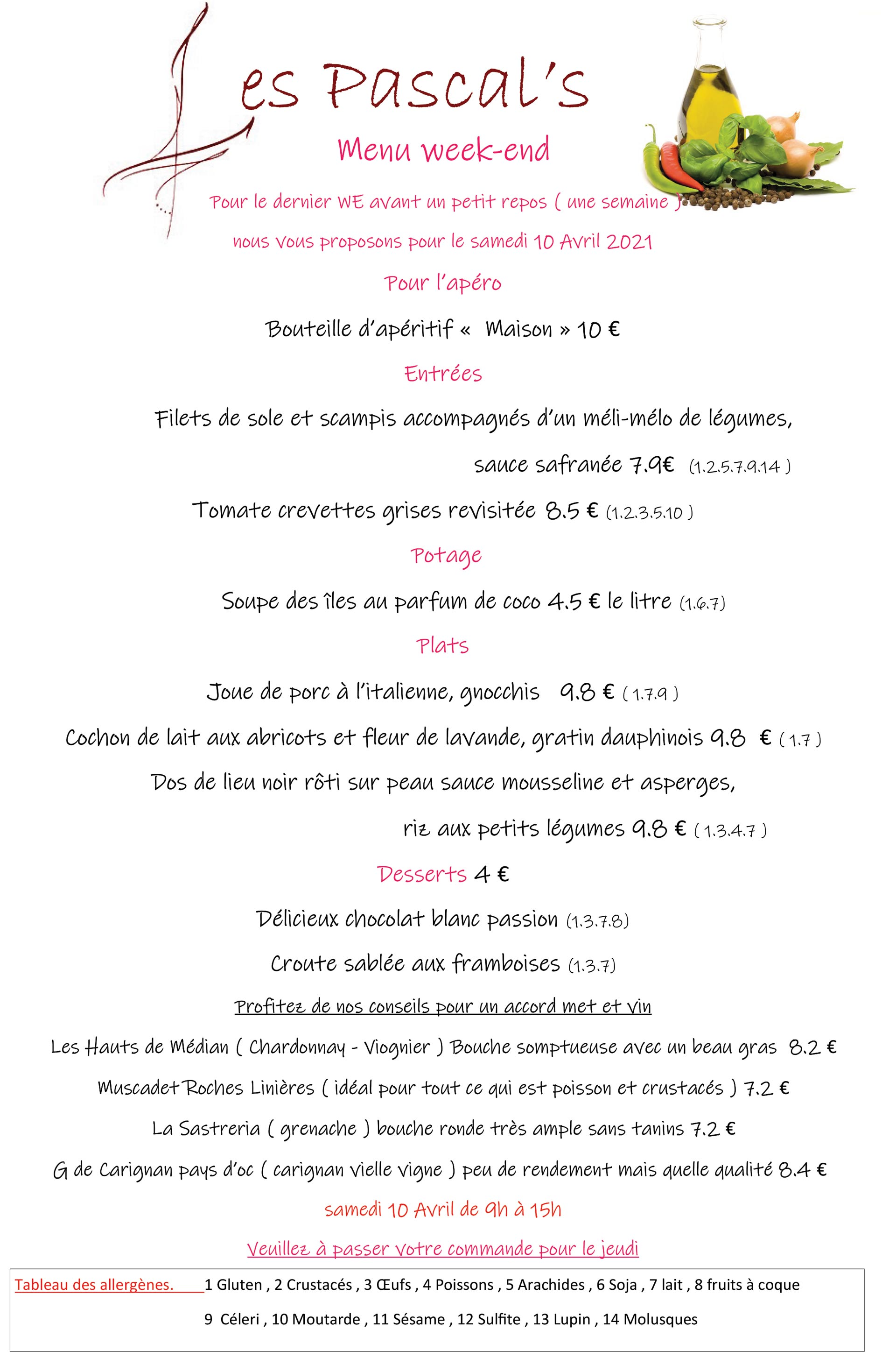 menu du week-end